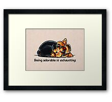 Yorkie Being Adorable is Exhausting Framed Print
