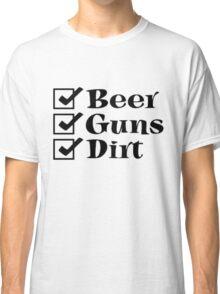 BEER GUNS DIRT check list Classic T-Shirt