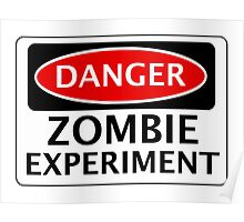 DANGER ZOMBIE EXPERIMENT FUNNY FAKE SAFETY SIGN SIGNAGE Poster