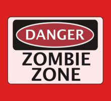 DANGER ZOMBIE ZONE FUNNY FAKE SAFETY SIGN SIGNAGE Kids Clothes