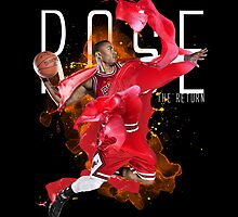 Derrick Rose on Black T-Shirt by hardsign