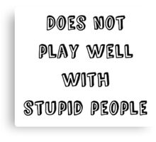 Does not play well with stupid people Canvas Print