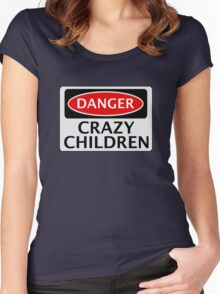 DANGER CRAZY CHILDREN FAKE FUNNY SAFETY SIGN SIGNAGE Women's Fitted Scoop T-Shirt
