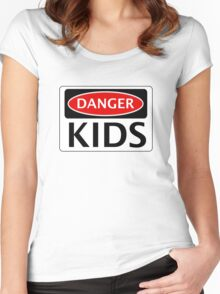 DANGER KIDS FAKE FUNNY SAFETY SIGN SIGNAGE Women's Fitted Scoop T-Shirt