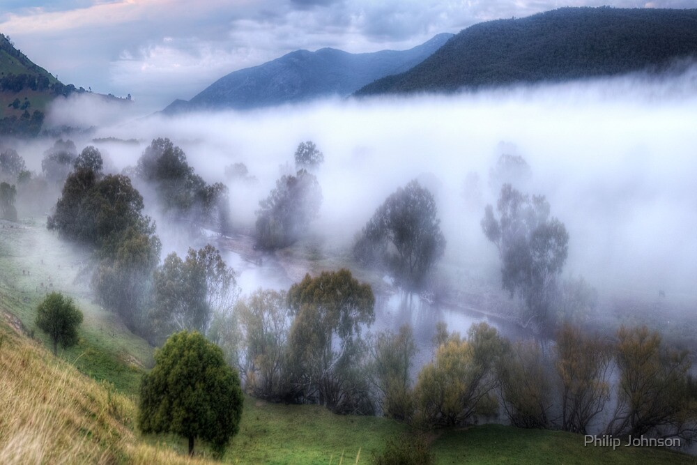 Mist On The Waters- Jingellic NSW/Walwa Victoria - The HDR Experience by Philip Johnson