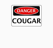 DANGER COUGAR, FAKE FUNNY SAFETY SIGN SIGNAGE Womens Fitted T-Shirt