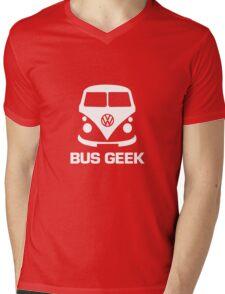Bus Geek White Mens V-Neck T-Shirt