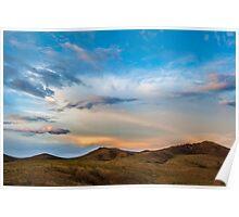 Mongolian Mountain Sunset Poster