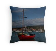 Red Sailing Boat Throw Pillow
