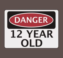 DANGER 12 YEAR OLD, FAKE FUNNY BIRTHDAY SAFETY SIGN Kids Clothes