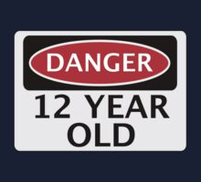 DANGER 12 YEAR OLD, FAKE FUNNY BIRTHDAY SAFETY SIGN Kids Tee