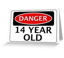 DANGER 14 YEAR OLD, FAKE FUNNY BIRTHDAY SAFETY SIGN Greeting Card