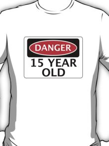 DANGER 15 YEAR OLD, FAKE FUNNY BIRTHDAY SAFETY SIGN T-Shirt