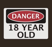 DANGER 18 YEAR OLD, FAKE FUNNY BIRTHDAY SAFETY SIGN by DangerSigns