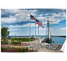 Tall Ship n Flags Poster