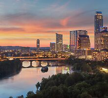 The Austin Skyline on a Summer Evening by RobGreebonPhoto