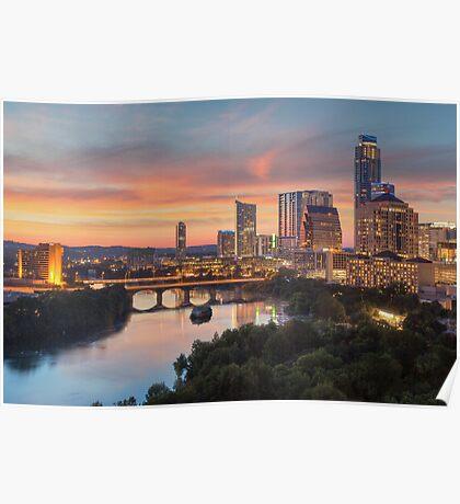 The Austin Skyline on a Summer Evening Poster
