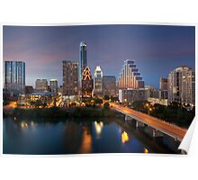 Austin Skyline Images - Congress Bridge and Downtown Austin Poster