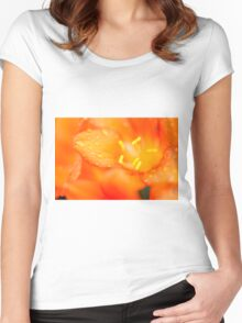 Closeup  of a flower Women's Fitted Scoop T-Shirt