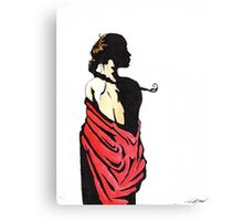 The lady in red Canvas Print