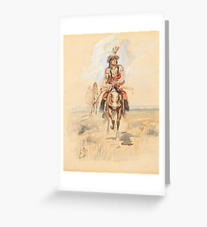 CHARLES M. RUSSELL (1864-1926) Indians Crossing the Plains Greeting Card