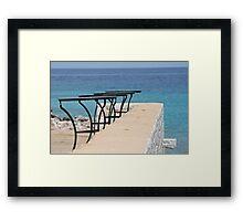 Lonely Greek Resaurant Framed Print