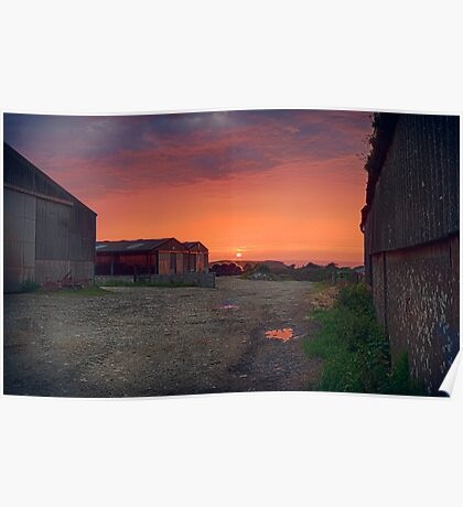 Farmyard Sunset Poster