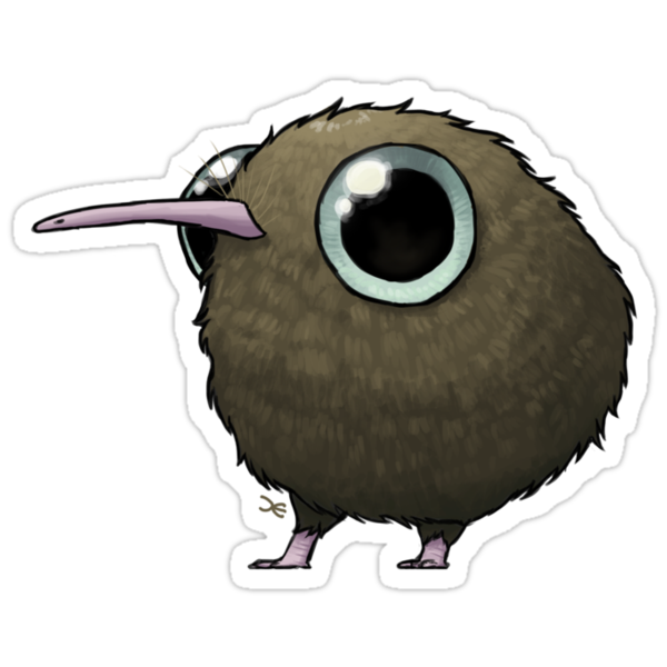 Fat Kiwi - sticker by Demmy