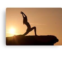 Yoga Poses at Sunset 1 Canvas Print