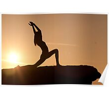 Yoga Poses at Sunset 1 Poster
