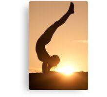 Yoga Poses at Sunset 6 Canvas Print