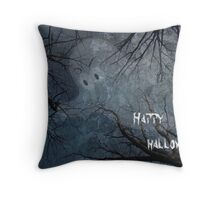 Happy Halloween - Ghost in Trees Throw Pillow