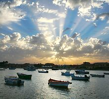 Boats on the sea and rays of light  by Reinvention
