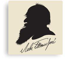 Leo Tolstoy profile portrait and signature Canvas Print
