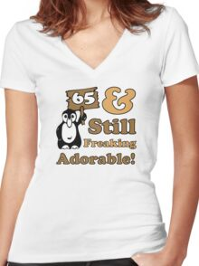 Cute 65th Birthday Gift For Women Women's Fitted V-Neck T-Shirt