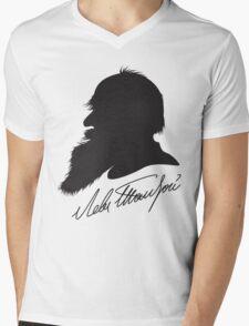 Leo Tolstoy profile portrait and signature Mens V-Neck T-Shirt