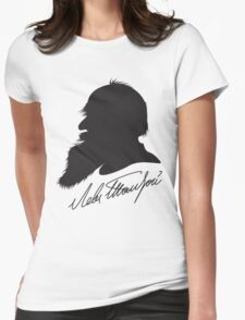 Leo Tolstoy profile portrait and signature Womens Fitted T-Shirt