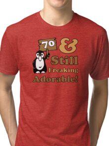 Cute 70th Birthday Gift For Women Tri-blend T-Shirt