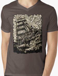 PIRATE BOAT Mens V-Neck T-Shirt
