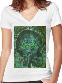 ~trees~ Women's Fitted V-Neck T-Shirt