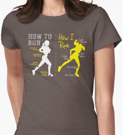 How I Run (Women) - midtone garments Womens Fitted T-Shirt