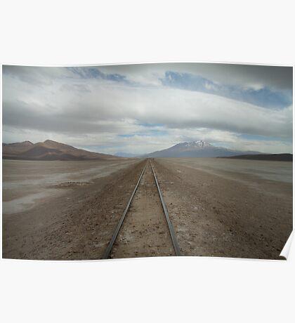 Railway through the desert. Poster