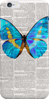 Butterfly Print on Dictionary book iphone case by littlevogue