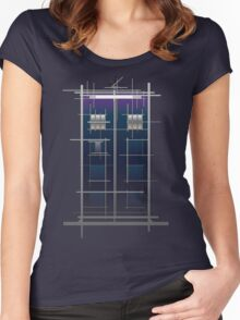 Tardis (White) Women's Fitted Scoop T-Shirt