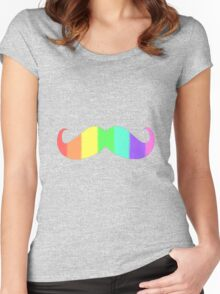 Rainbow Moustache Women's Fitted Scoop T-Shirt
