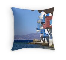 Mykonos by the seaside Throw Pillow