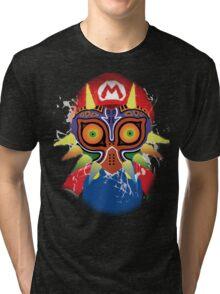 Mario wearing Majora's Mask Tri-blend T-Shirt