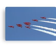 The Red Arrows fly upside down at Airbourne in Eastbourne Canvas Print