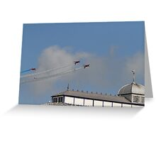 The Red arrows fly over the pier at Airbourne in Eastbourne Greeting Card