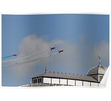 The Red arrows fly over the pier at Airbourne in Eastbourne Poster